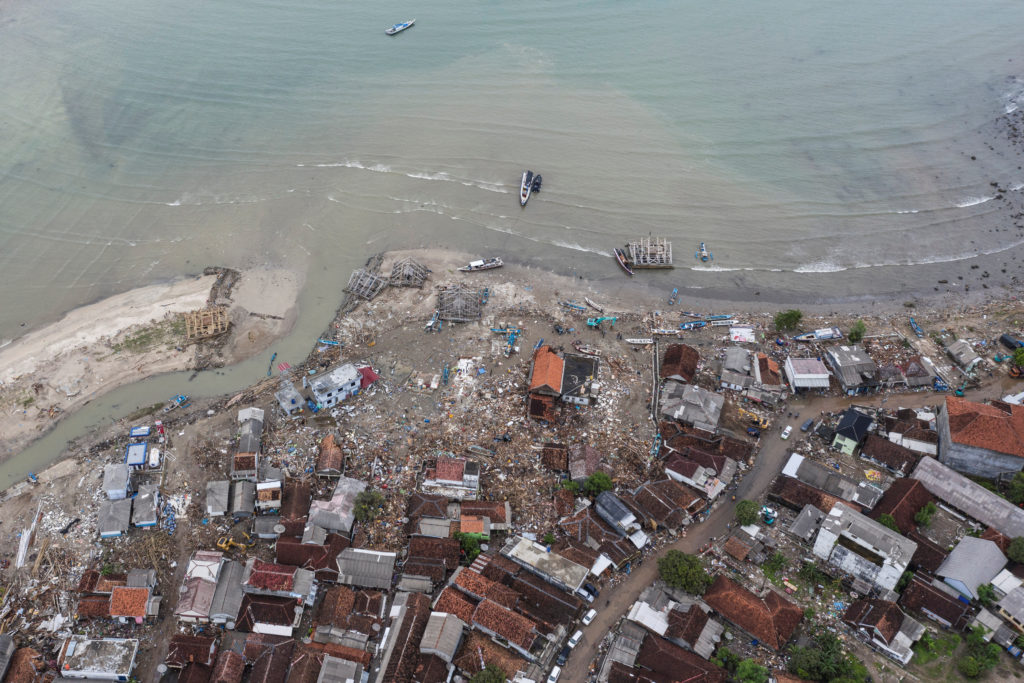 An aerial view of an affected area after a tsunami hit Sunda strait at Sumur village in Pandeglang, Banten province, Indonesia. Photo by Antara Foto/Muhammad Adimaja via Reuters