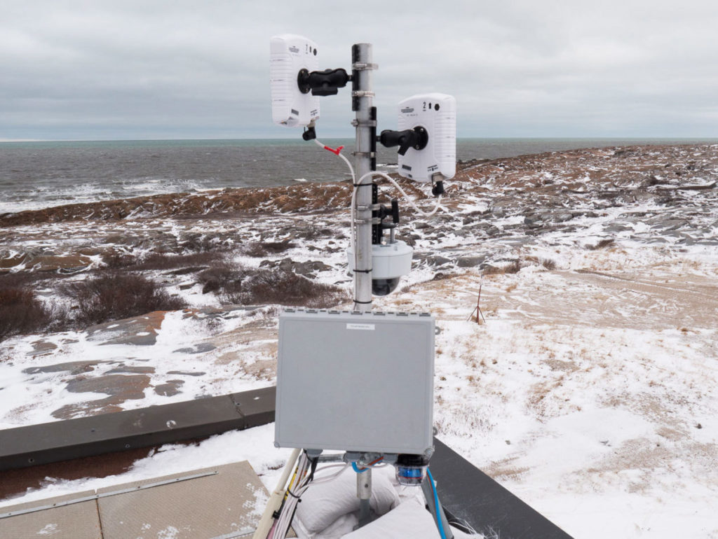 The BEARDAR radar system being tested near the shores of Hudson Bay. Photo by BJ Kirschhoffer