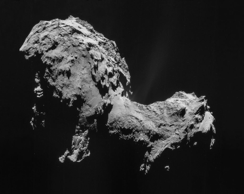 Comet 67P/Churyumov–Gerasimenko, taken by the Rosetta Mission Sept. 19, 2014. Rosetta's original target was 46P/Wirtanen, but NASA missed the deadline to launch in time. Image by ESA/Rosetta/NAVCAM, CC BY-SA