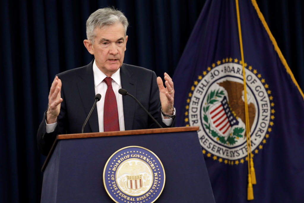 Federal Reserve Board Chairman Jerome Powell speaks during his news conference after a Federal Open Market Committee meeting in Washington on December 19, 2018. Photo by Yuri Gripas/Reuters