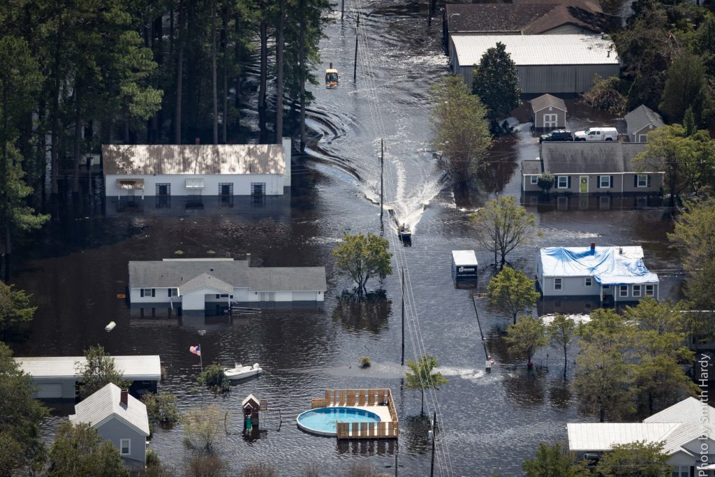 When Hurricane Florence hit the small working-class town of Pollocksville, about half of its homes and businesses sat underwater for several days. Some parts of town were covered by up to 20 feet of water. Photo by Smith Hardy