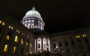 The Wisconsin State Capitol where late night debate is took place over contentious legislation. Wisconsin Republicans passed a series of proposals that will weaken the authority of Gov.-elect Tony Evers and incoming Democratic Attorney General Josh Kaul. Photo by Andy Manis/Getty Images