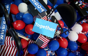 Signs, balloons and American flags littered the floor during the Democratic National Convention in 2016. The Democratic National Committee announced changes Thursday that will transform the 2020 primary season. Photo by Daniel Acker/Bloomberg via Getty Images