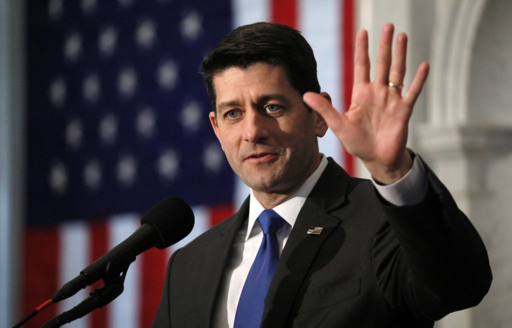 Retiring U.S. Speaker of the House Paul Ryan delivers his farewell address in the Great Hall of the Library of Congress in Washington, U.S., December 19, 2018. REUTERS/Jonathan Ernst - RC1E95E127C0