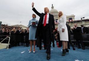 President Donald Trump acknowledges the audience after taking the oath of office during inauguration ceremonies. A subpoena from federal prosecutors furthers an inquiry into how Trump's inaugural committee raised and spent money. Photo by Jim Bourg/Reuters