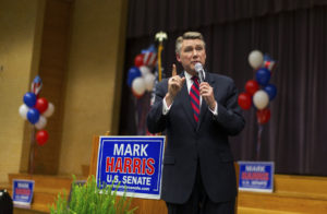 Republican candidate for the Senate Mark Harris speaks to supporters during a volunteer meeting and rally at the Ardmore Auditorium in Winston-Salem, North Carolina, in April. Photo by Chris Keane/Reuters