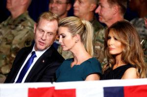 Deputy Secretary of Defense Patrick Shanahan speaks with Ivanka Trump on August 21, 2017.  Photo by Joshua Roberts/Reuters