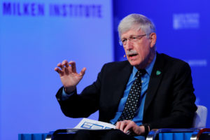 Francis Collins, Director, National Institutes of Health, speaks at the Milken Institute 21st Global Conference in Beverly Hills, California, U.S., April 30, 2018. Photo by Mike Blake/Reuters