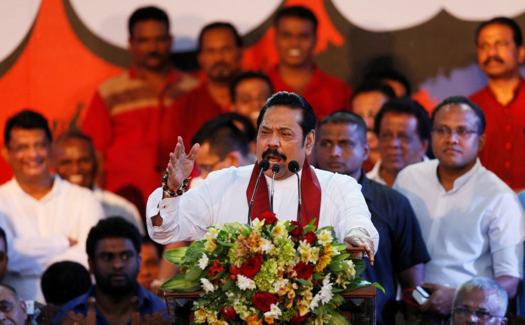 Sri Lanka's Prime Minister Mahinda Rajapaksa speaks during a rally near the parliament in Colombo, Sri Lanka on November 5, 2018. Photo by Dinuka Liyanawatte/Reuters