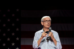 Tony Evers speaks to a crowd of supporters. Photo by Nick Oxford/Reuters
