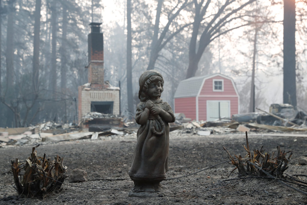 A statue stands in front of a home destroyed by the Camp Fire in Paradise, California, D.C. Photo by Terray Sylvester/Reuters