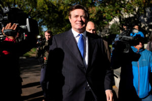 FILE PHOTO: Former Trump 2016 campaign chairman Paul Manafort leaves U.S. Federal Court after being arraigned on twelve federal charges in the investigation into alleged Russian meddling in the 2016 U.S. presidential election in Washington, U.S. October 30, 2017. REUTERS/James Lawler Duggan/File Photo - RC19358A1FA0