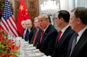 U.S. President Donald Trump, U.S. President Donald Trump's national security adviser John Bolton, U.S. Treasury Secretary Steven Mnuchin attend a working dinner with Chinese President Xi Jinping after the G20 leaders summit in Buenos Aires, Argentina December 1, 2018. Photo by Kevin Lamarque/Reuters