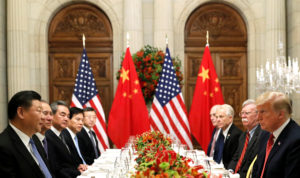 President Donald Trump, U.S. Secretary of State Mike Pompeo, national security adviser John Bolton and Chinese President Xi Jinping attend a working dinner after the G20 leaders summit in Buenos Aires, Argentina on December 1. Photo by Kevin Lamarque/Reuters