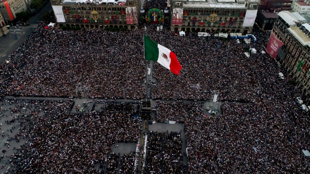 Aerial view of the Zocalo square during AMLO Fest to celebrate Mexico's new President Andres Manuel Lopez Obrador in Mexico City on Dec. 1. Photo by Dronebase via Reuters