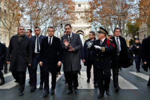 France's President Emmanuel Macron, France's Interior Minister Christophe Castaner, Secretary of State to the Interior Minister Laurent Nunez, and Paris police prefect Michel Delpuech arrive to visit firefighters and riot police officers the day after a demonstration, in Paris, France December 2, 2018. Thibault Camus/Pool via Reuters