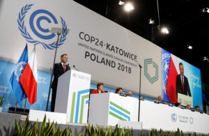 Polish President Andrzej Duda addresses during the opening of COP24 UN Climate Change Conference 2018 in Katowice, Poland. Photo by Kacper Pempel/Reuters