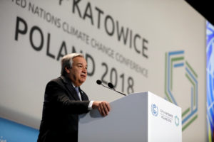 UN Secretary General Antonio Guterres addresses during the opening of COP24 UN Climate Change Conference 2018 in Katowice, Poland on December 3. Photo by Kacper Pempel/Reuters