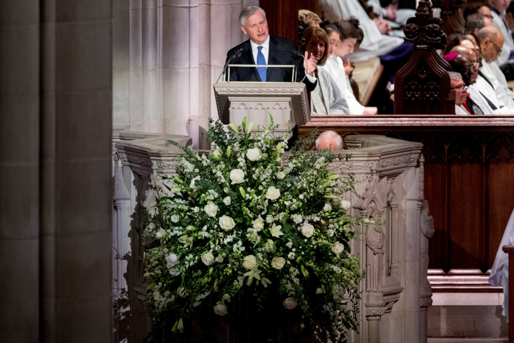 Presidential biographer Jon Meacham speaks during the State Funeral for former President George H.W. Bush at the National Cathedral. Photo by Andrew Harnik/Reuters