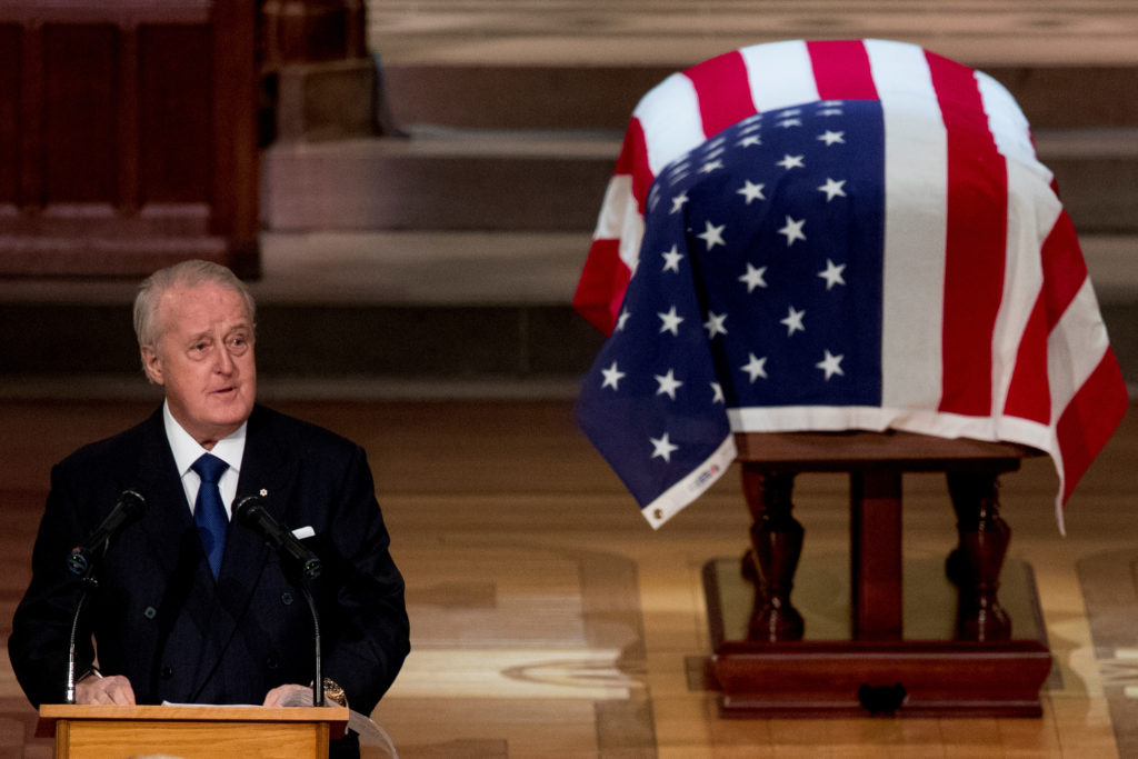 Former Canadian Prime Minister Brian Mulroney speaks during the State Funeral for former President George H.W. Bush at the National Cathedral, in Washington, D.C. Photo by Andrew Harnik/Reuters