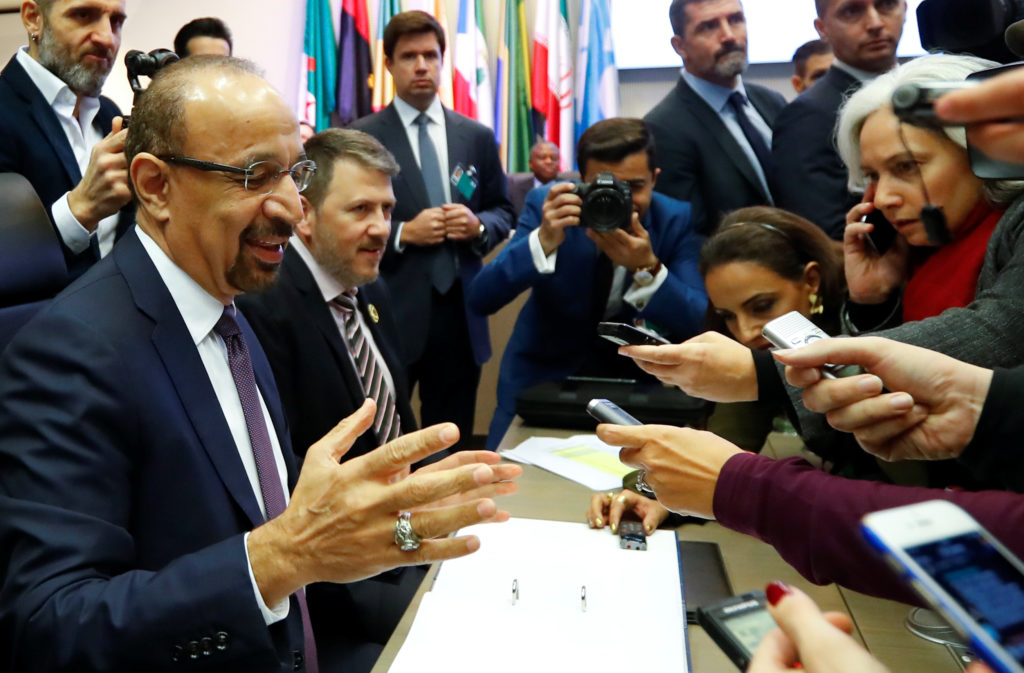 Saudi Arabia's Oil Minister Khalid al-Falih talks to journalists at the beginning of an OPEC meeting in Vienna, Austria on December 6, 2018. Photo by Leonhard Foeger/Reuters