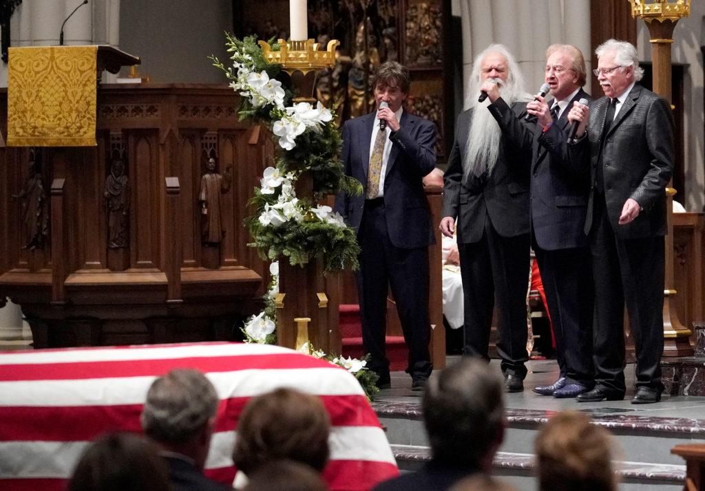 "The Oak Ridge Boys sing ""Amazing Grace"" during a funeral service for former President George H.W. Bush at St. Martin's Episcopal Church Thursday, Dec. 6, 2018, in Houston. Photo by David J. Phillip/Pool via Reuters"
