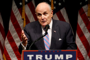 FILE PHOTO: Rudy Giuliani delivers remarks before Donald Trump rallies with supporters in Council Bluffs, Iowa, U.S., September 28, 2016. Photo By Jonathan Ernst/Reuters