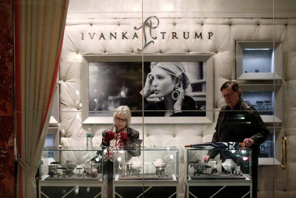 People look at items for sale in the Ivanka Trump shop inside Trump Tower in New York City, New York, U.S., April 25, 2017. Picture taken April 25, 2017. Photo by Mike Segar/Reuters