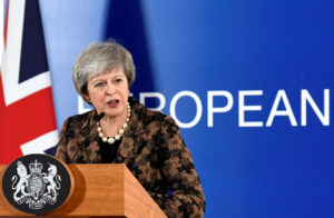 Prime Minister Theresa May attends a news conference after a European Union leaders summit in Brussels, Belgium on December 14, 2018. Photo by Piroschka Van De Wouw/Reuters