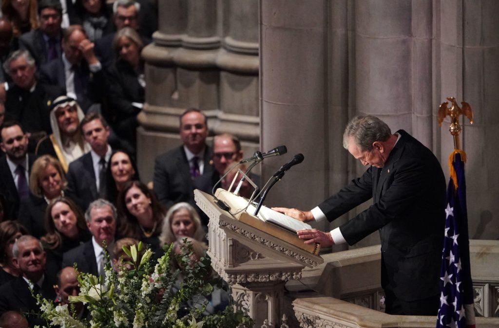 TOPSHOT - Former US President George W. Bush speaks during the funeral service for former US President George H. W. Bush at the National Cathedral in Washington, DC on December 5, 2018. (Photo by MANDEL NGAN / AFP) (Photo credit should read MANDEL NGAN/AFP/Getty Images)
