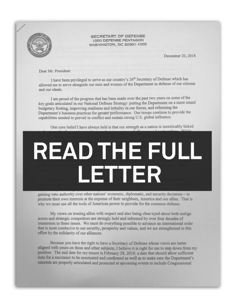 Read James Mattis' full resignation letter | PBS NewsHour