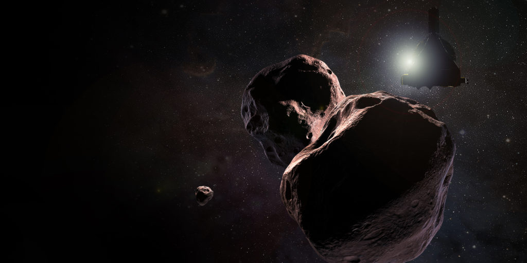 NASA's New Horizons spacecraft will fly by the Kuiper Belt object Ultima Thule in the early hours of Jan. 1, 2019, shown here in an artist's illustration. Photo courtesy of NASA/Johns Hopkins University Applied Physics Laboratory/Southwest Research Institute/Steve Gribben