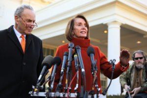 Senate Minority Leader Chuck Schumer (D-N.Y.) and House Speaker designate Nancy Pelosi (D-Calif.) speak to reporters after meeting with President Donald Trump at the White House in Washington, D.C. Photo by Jonathan Ernst/Reuters