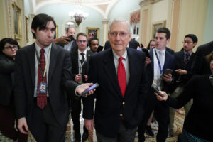 Senate Majority Leader Mitch McConnell (R-Ky.) returns to the U.S. Capitol to speak on the floor of the Senate after meeting with President Donald Trump at the White House, as deadlines for a federal government shutdown loom in Washington, D.C. Photo by Jonathan Ernst/Reuters