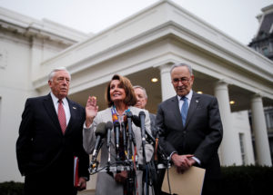 House Democratic leader Nancy Pelosi (D-Calif.) speaks to reporters with Senate Democratic leader Chuck Schumer (D-N.Y.), Rep. Steny Hoyer (D-Md.) and Sen. Dick Durnin (D-Ill.) following a border security briefing with U.S. President Donald Trump and congressional leadership at the White House in Washington, D.C. Photo by Carlos Barria/Reuters