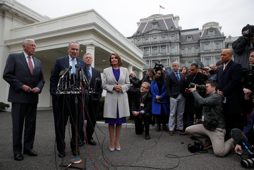Senate Democratic Leader Chuck Schumer, House Speaker Nancy Pelosi, Rep. Steny Hoyer and Sen. Dick Durbin talk with reporters following a meeting with President Trump  at the White House on Jan. 4, 2019. Photo by REUTERS/Jim Young
