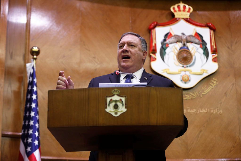 Secretary of State Mike Pompeo speaks during a news conference with Jordanian Foreign Minister Ayman Safadi in Amman, Jordan. Photo by Muhammad Hamed/Reuters