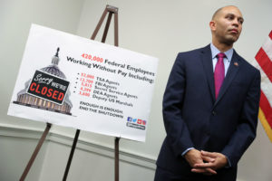 Democratic House caucus chairman Rep. Hakeem Jeffries, D-N.Y., leads a news conference on Jan. 9, 2019. Photo by REUTERS/Jonathan Ernst