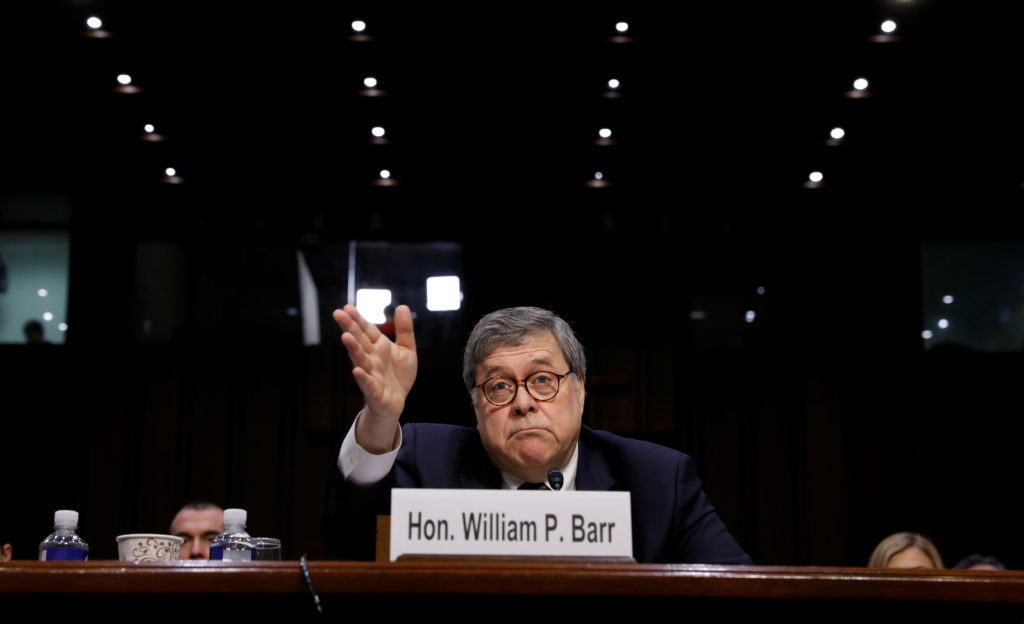 William Barr testifies at the Senate Judiciary Committee confirmation hearing on his nomination to be attorney general of the United States in Washington, D.C. Photo by Kevin Lamarque/Reuters