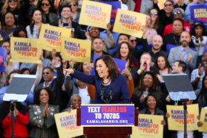 Sen. Kamala Harris launches her campaign for President of the United States at a rally at Frank H. Ogawa Plaza in her hometown of Oakland, California. Photo by Elijah Nouvelage/Reuters