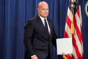 Acting Attorney General Matthew Whitaker arrives to address a news conference about charges against China's Huawei Technologies Co Ltd. Photo by REUTERS/Joshua Roberts