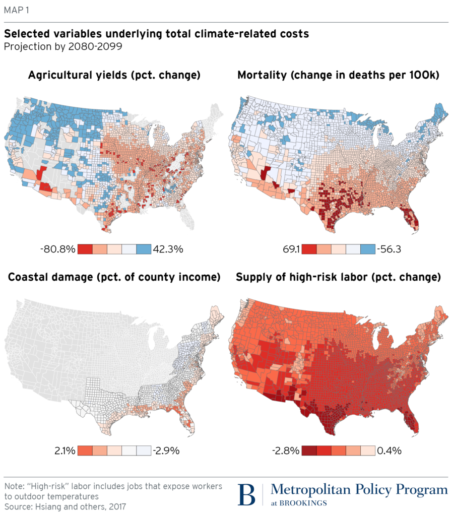 This map shows four economic cost predictions for the U.S. based on how climate may change by the end of the century. Map by Brookings Institution based on Hsiang, S. et al. Science, 2017.