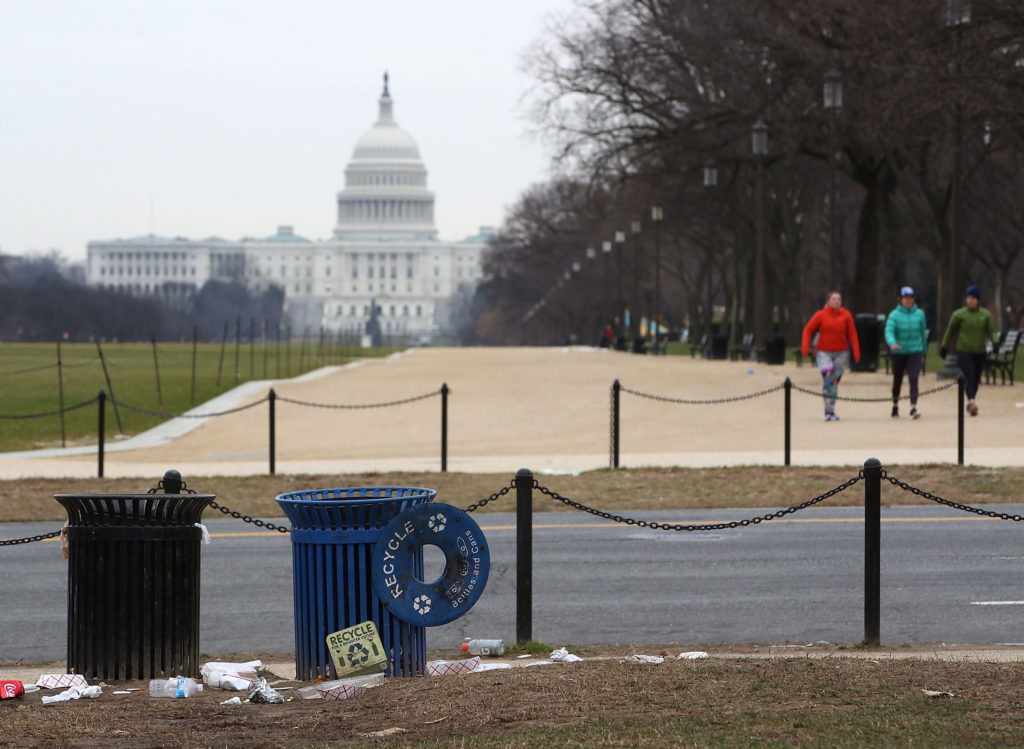WASHINGTON, DC - JANUARY 02: Trash lays on the grounds of the National Mall as the partial shutdown of the U.S. government goes into the 12th day, on January 2, 2019 in Washington, DC. With the new congress scheduled to start on January 3, 2019, Congressional Democrats and Republicans have not come to a bipartisan solution to President Donald Trump's demands for more money to build a wall along the U.S.-Mexico border. (Photo by Mark Wilson/Getty Images)