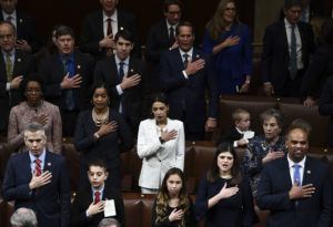 Members of Congress take the oath during the start of the 116th Congress and swearing-in ceremony on the floor of the US House of Representatives at the US Capitol on January 3, 2019 in Washington,DC. (Photo by Brendan Smialowski / AFP) (Photo credit should read BRENDAN SMIALOWSKI/AFP/Getty Images)