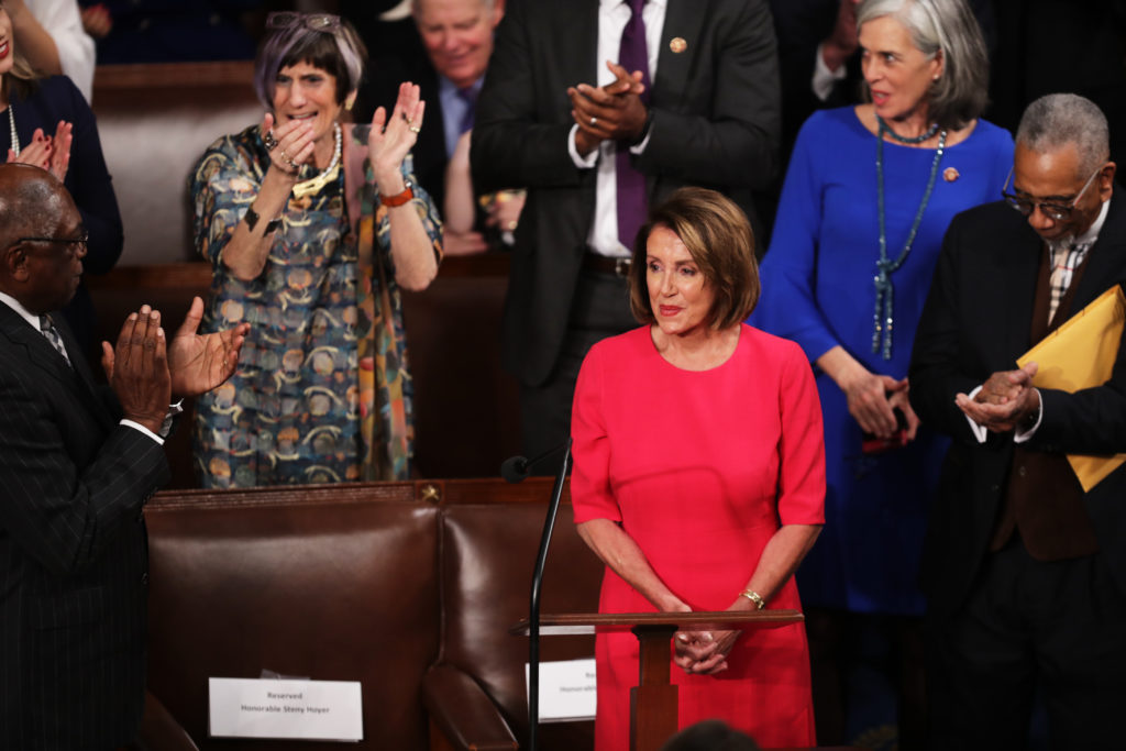 Rep. Nancy Pelosi (D-Calif.) is applauded by members of Congress after being nominated during the first session of the 116...