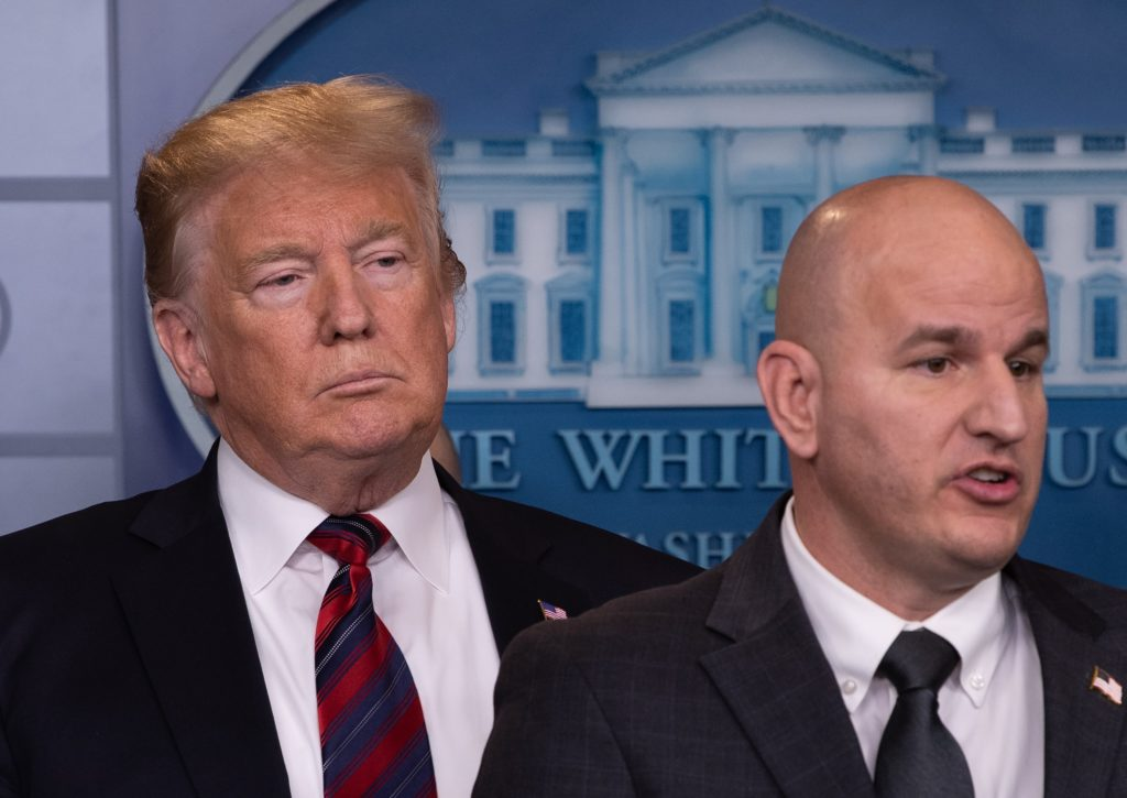 President Donald Trump listens to Brandon Judd, President of the National Border Patrol Council, speak about border security in the briefing room at the White House in Washington, D.C. Photo by Nicholas Kamm/AFP/Getty Images