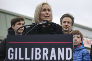 TROY, NY - JANUARY 16: Surrounded by her family, Sen. Kirsten Gillibrand (D-NY) announces that she will run for president in 2020 outside the Country View Diner, January 16, 2019 in Troy, New York. Last night on The Late Show, Gillibrand told host Stephen Colbert that she has formed an exploratory committee for her White House run. (Photo by Drew Angerer/Getty Images)