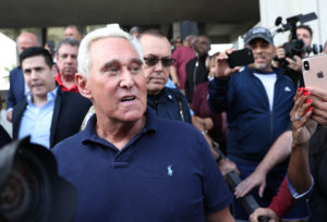 Roger Stone, a former advisor to President Donald Trump, leaves the Federal Courthouse on January 25, 2019 in Fort Lauderdale, Florida. Photo by Joe Raedle/Getty Images