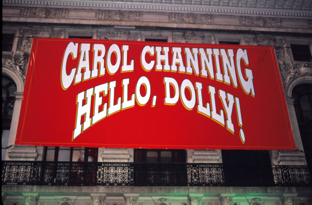 "Theatre marquee for Carol Channing starring in a revival of the musical ""Hello, Dolly!"" at the Lunt Fontaine Theatre in New York City in 1995. Photo by Walter McBride/Corbis via Getty Images"
