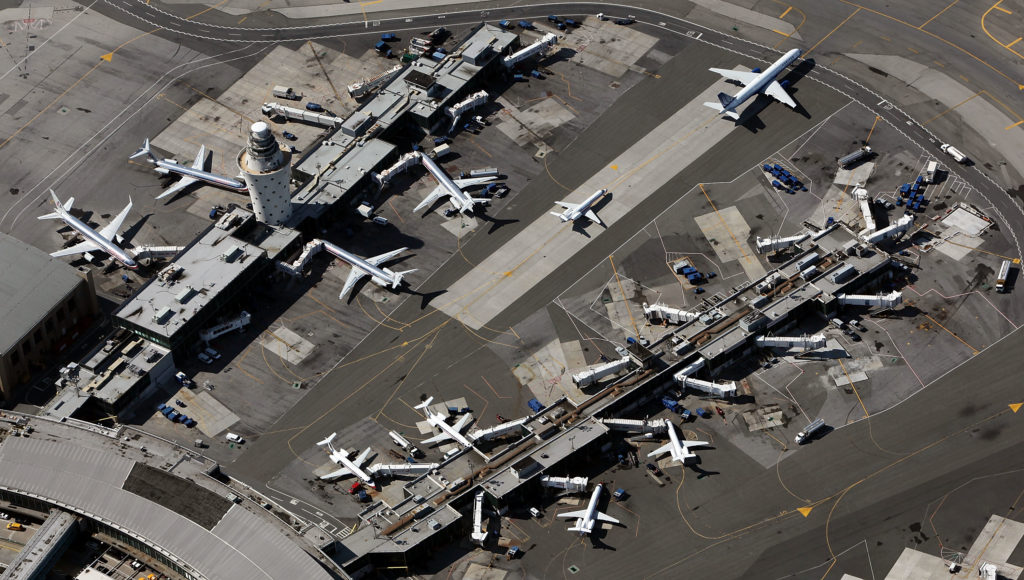 Planes are seen at LaGuardia Airport September 13, 2009 in the Queens borough of New York City. (Photo by Mario Tama/Getty Images)